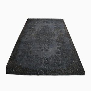 6x9 Vintage Turkish Oushak Overdyed Black Rug