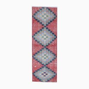 Tappeto Oushak vintage in lana fatto a mano con diamante diamantato 2x5