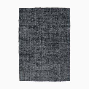 7x10 Vintage Oushak Handmade Wool Rug in Black
