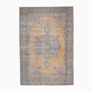Tappeto 7x10 Tappeto Oushak vintage fatto a mano in lana arancione, Medio Oriente