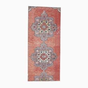 3x6 Vintage Turkish Oushak Handmade Red Wool Oriental Rug