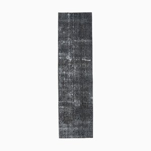 3x9 Vintage Turkish Oushak Handmade Black Solid Wool Runner Rug