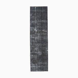 Tappeto Oushak vintage in lana nera fatto a mano, 3x9 cm