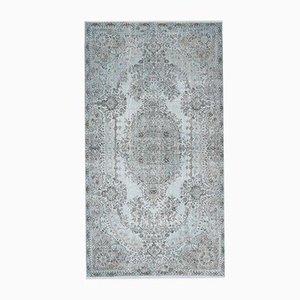 Tappeto 5x9 vintage Medio Oriente Oushak blu chiaro