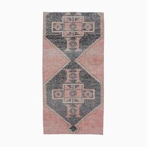 Handgeknüpfter 3x7 türkischer Vintage Oushak Teppich aus Roter Wolle