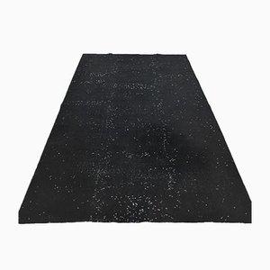 Handgeknüpfter türkischer Vintage Oushak Vintage Teppich aus schwarzer Wolle, 5x9