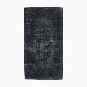 5x10 Vintage Turkish Oushak Handmade Black Wool Area Rug