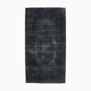 Handgeknüpfter türkischer Vintage Oushak Teppich aus schwarzer Wolle mit 5 x 10 Feldern