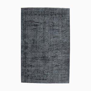 6x9 Vintage Turkish Oushak Handmade Black Wool Area Rug