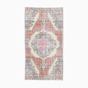 4x7 Vintage Middle East Handmade Wool Oriental Carpet in Orange