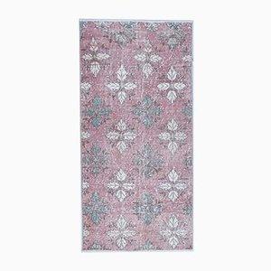 Türkischer Vintage Oushak Wollteppich 3x5 in Rosa Blüte