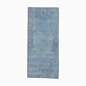 3x6 Vintage Turkish Oushak Handmade Wool Rug in Blue
