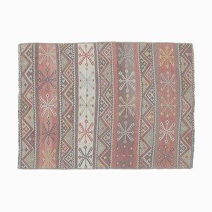 2x3 Türkischer Vintage Kilim Oushak Handgewebter Flachgewebe Teppich aus Baumwolle Mini