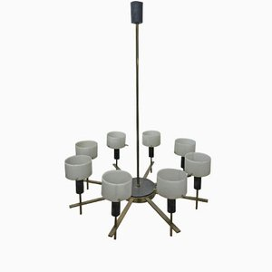 Italian Midcentury Perspex and Brass Chandelier
