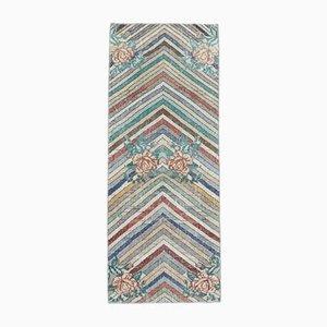 Türkischer Vintage Oushak Vintage 2x6 Teppich aus Chevron Wolle