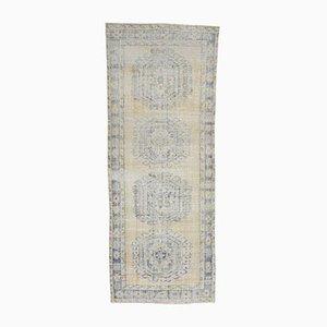 Türkischer & verwaschener 4x11 Handaufzug Teppich aus türkisfarbenem Oushak Wollstoff
