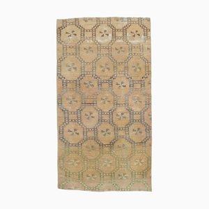 3x5 Vintage Turkish Oushak Handmade Tan Neutral Wool Rug