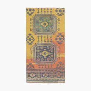 Türkischer Vintage Oushak Vintage 3x5 Wollteppich in Gelb