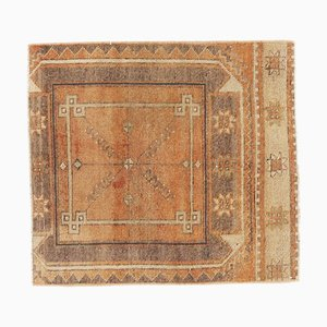 2x2 Vintage Turkish Oushak Square Doormat Carpet