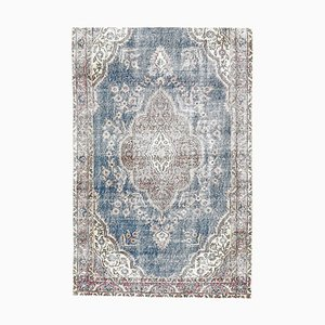 Türkischer Vintage Oushak 4x7 Handgemacht Teppich aus Wolle in Braun