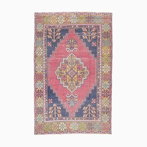 4x7 Vintage Turkish Oushak Handmade Wool Rug in Pink