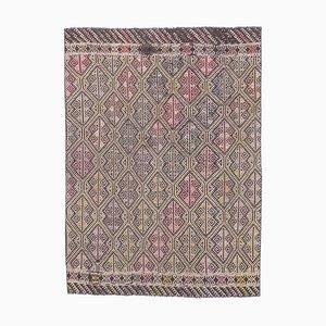 4x6 Vintage Turkish Oushak Handmade Brown Wool Kilim Area Rug