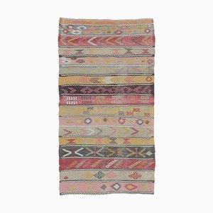 3x6 Vintage Turkish Oushak Handmade Wool Kilim Area Rug