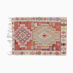 4x5 Türkischer Vintage Kilim Oushak Handgewebter Flachgewebe Teppich aus Baumwolle Mini