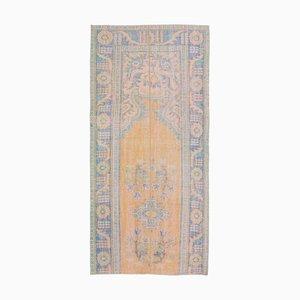 3x7 Türkischer Vintage Ouschak Läufer aus handgewebter Wolle