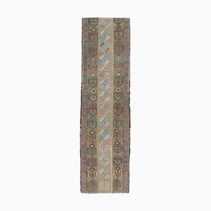 Türkischer türkiser Vintage Oushak 2 × 8 Läufer Teppich aus Wolle