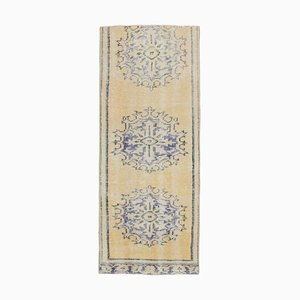 2x5 Vintage Turkish Oushak Oriental Yellow Handmade Door Mat