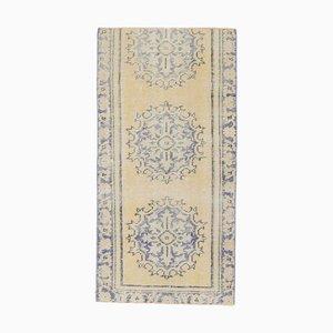 2x4 Türkise Vintage Oushak Oriental Handmade Fußmatte in Gelb