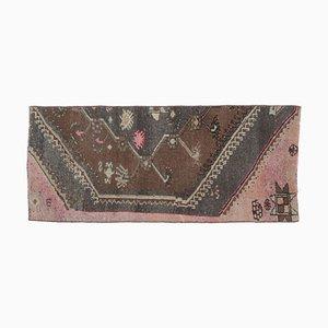 2x5 Vintage Turkish Oushak Oriental Brown Handmade Doormat