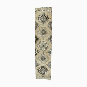 3x12 Vintage Turkish Oushak Handmade Wool Runner Rug Beige