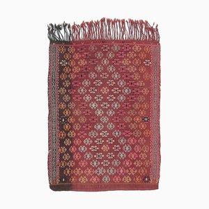 3x4 Vintage Turkish Oushak Handmade Red Wool Kilim Area Rug