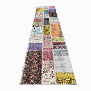 3x13 Vintage Turkish Oushak Patchwork Runner in Handmade Wool