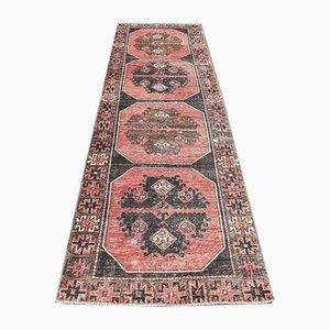 3x11 Antique Turkish Oushak Handmade Red Wool Runner Rug