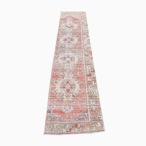 2x9 Vintage Turkish Oushak Handmade Wool Runner Rug in Red