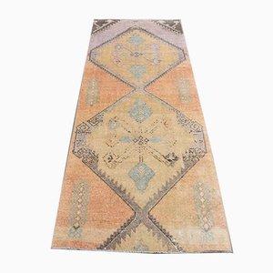 Tappeto Oushak vintage fatto a mano, lana, orientale, 3x7, Turchia