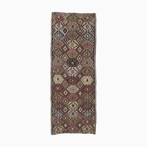 Handgemachter 4x12 türkischer Vintage Kilim Ouschak Teppich aus handgewebter Wolle