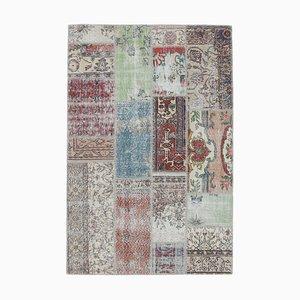 Tapis Oushak Vintage Fait Main en Patchwork de Laine, Turquie, 5x7