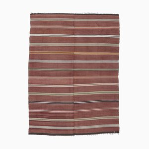 5x7 Vintage Turkish Oushak Handmade Red Wool Kilim Area Rug