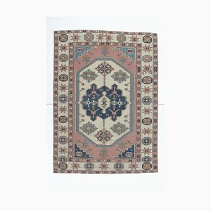6x8 Antique Middle East Handmade Pure Wool Tribal Pink & Beige Rug