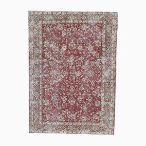 7x9 Türkischer Vintage Oushak Skarlet Teppich aus Wolle