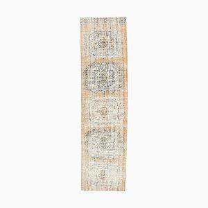 Tappeto da corridore 3US11 vintage fatto a mano di lana Oushak, Turchia