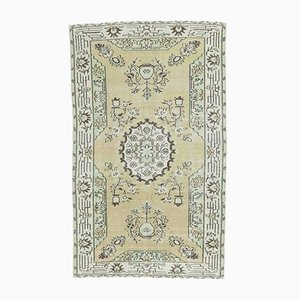 5x8 Antique Turkish Oushak Handmade Pistachio-Colored Rug