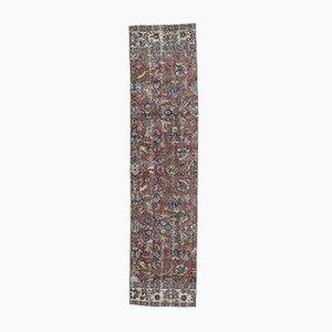 Tappeto Oushak vintage in lana fatta a mano 2x8 color rosso, Turchia