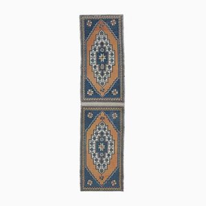 2x8 Vintage Middle East Twin Handmade Orange and Blue Carpet