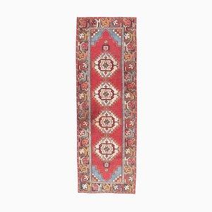 Türkischer Vintage Oushak Vintage 3x9 Teppich aus Roter Wolle