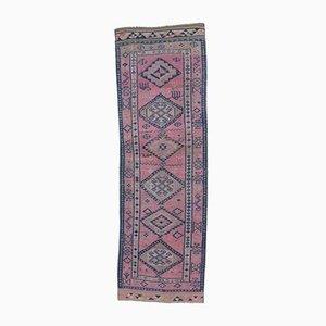 3x9 Türkischer Vintage Oushak Fuschia Läufer aus Wolle mit Hand-Knoten